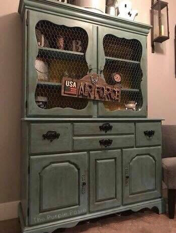 Distressed Turquoise China Cabinet