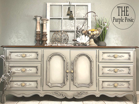 How to Paint a French Country or Modern Farmhouse Buffet using Dixie Belle Paint and Dixie Dirt