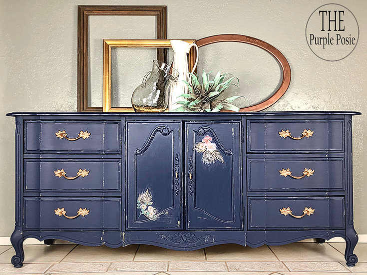 Blue French Provincial Buffet