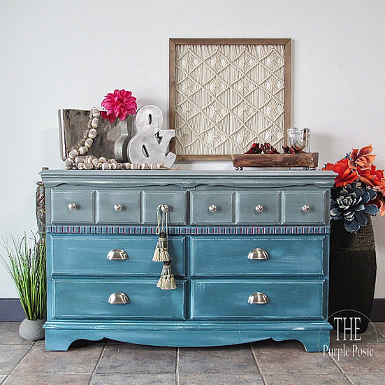 Blue and Grey Funky Distressed Dresser