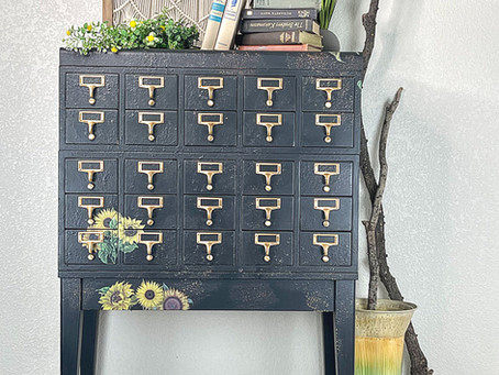 Antique Card Catalog makeover with Dixie Belle Paint and Belles and Whistles Transfers