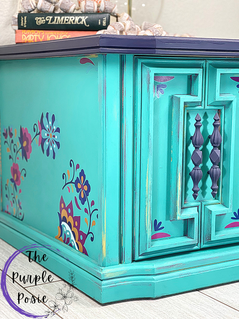 Hand Painted Cabinet, furniture transfer, mermaid tail, latin floral, aubergine, boho style furniture