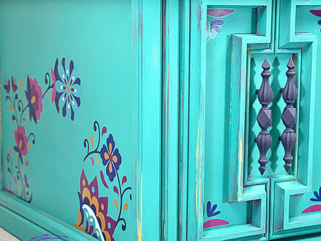 How to Paint a Colorful, Boho Finish | Latin Floral Transfer and Feathers Decoupage Paper