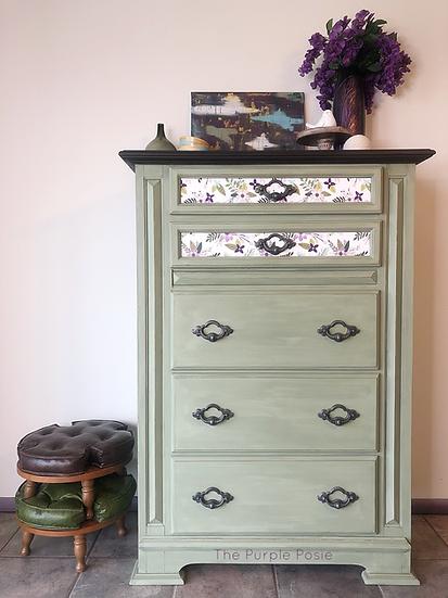 Green Decoupaged Dresser
