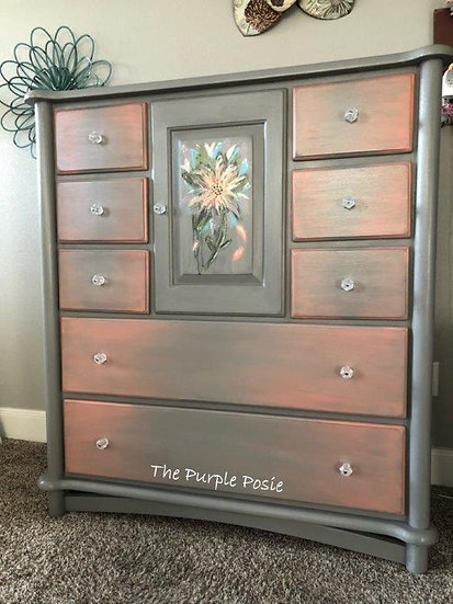Tall Dresser with Hand Painted Bouquet
