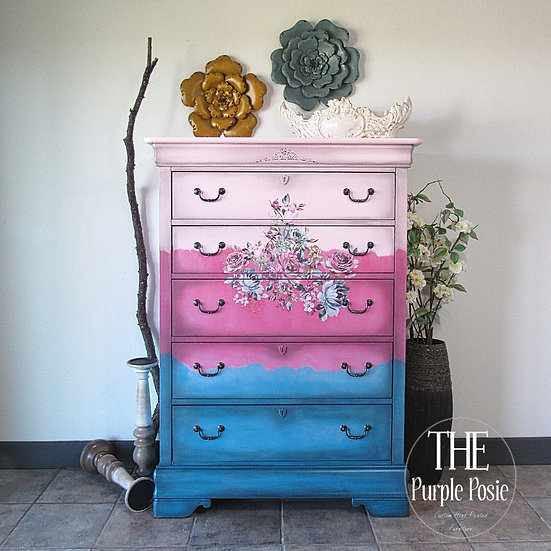 Funky Ombré Floral Chest of Drawers