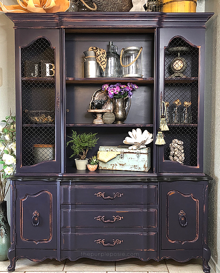 Purple French Provincial China Hutch