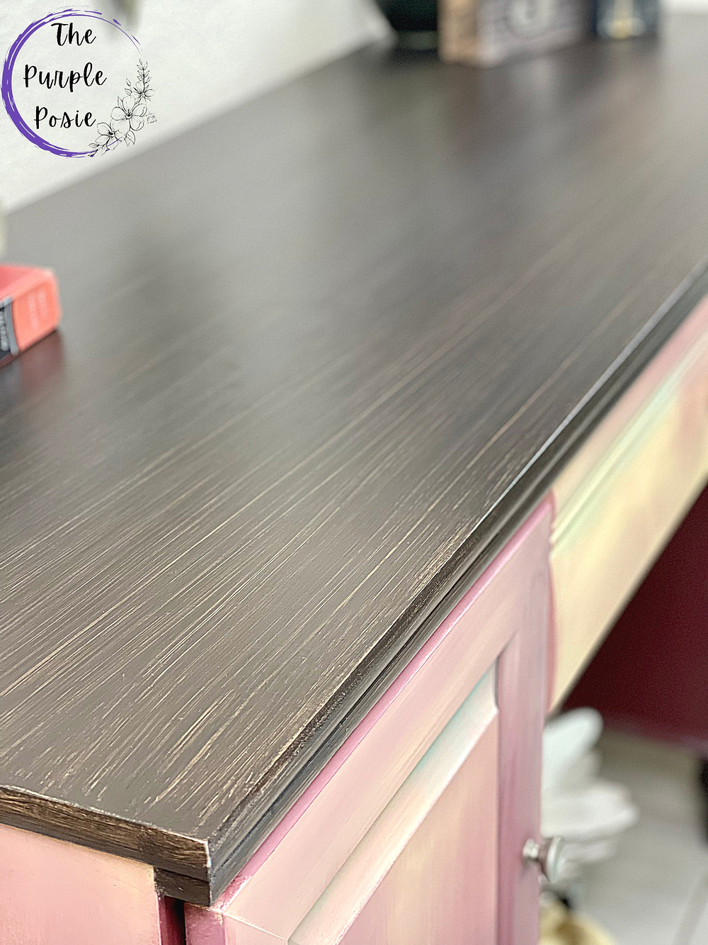 purple and yellow desk, desk makeover, painted desk