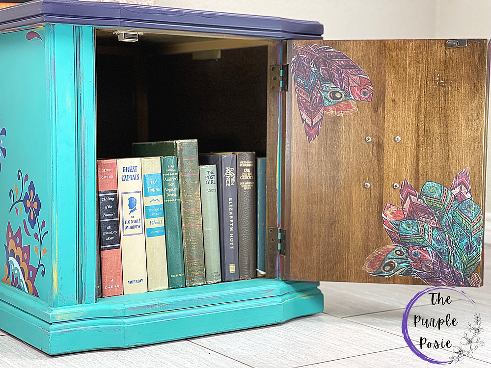 Hand Painted Cabinet, furniture transfer, mermaid tail, latin floral, aubergine, boho style furniture, decoupage paper, feathers