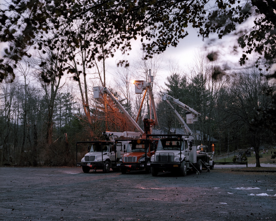 Bucket Cranes at Dusk