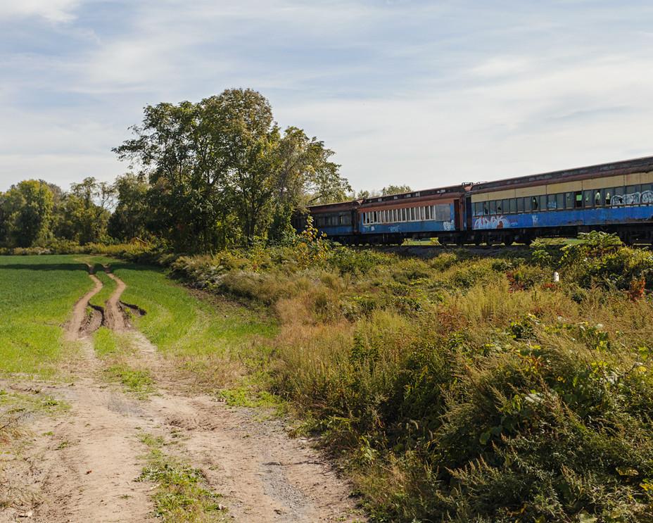 Farm with Abandoned Train
