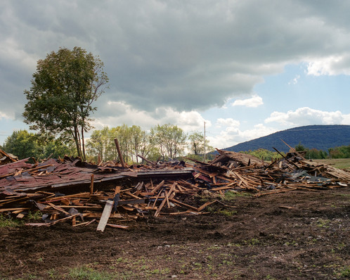 Barn Rubble with Tractor Tracks