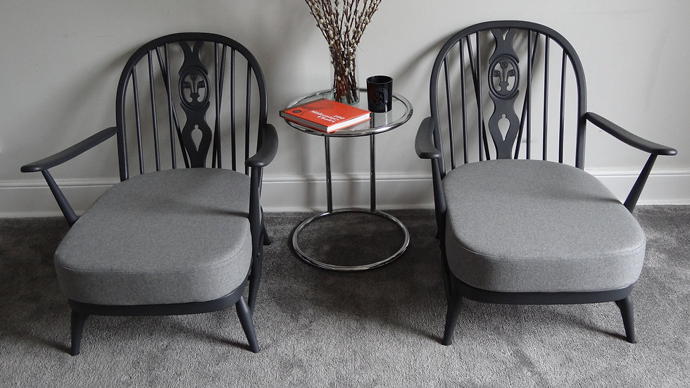 Pair Of Vintage Mid Century Ercol Lounge 252 Armchairs