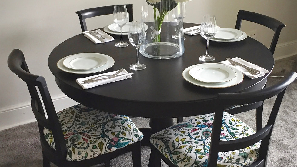 Refurbished and Hand Painted Pedestal Dining Table and Four Reupholstered Dining