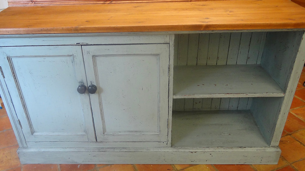 Old painted rustic pine cupboard/sideboard/vanity unit