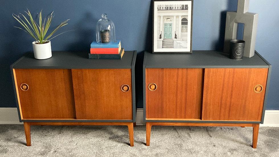 Pair Of Mid Century Retro Teak Cabinets With Sliding Doors
