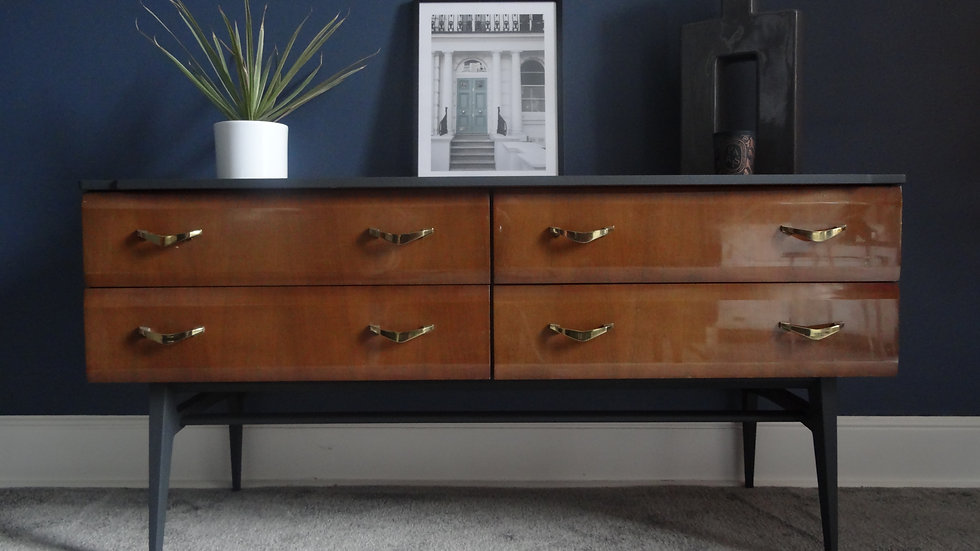 Mid Century Low Four Drawer Sideboard/TV Unit by Meredew