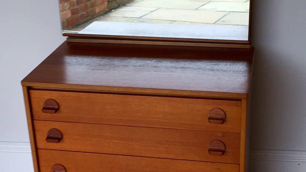 Mid Century Stag Chest of Drawers with Mirror