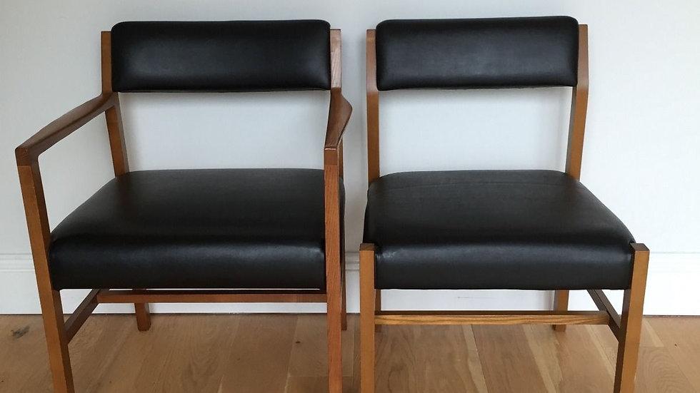 6 Mid Century Teak and Vinyl Dining Chairs