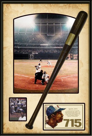 Hank Aaron 715 Shadowbox Comm Bat