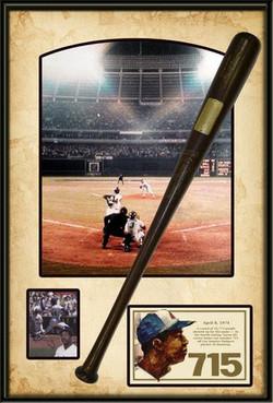 Hank Aaron 715 Shadowbox Comm Bat