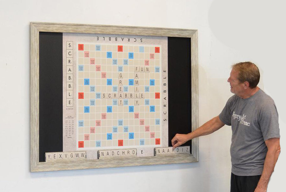 GIANT Scrabble on wall with Robert all w