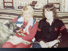 Aged 18 with cousin Sandy who was just converted (and Snoops the dog)