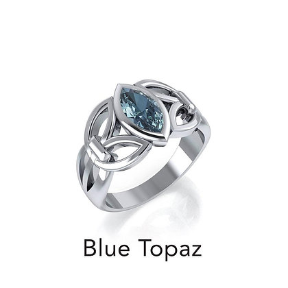 Blue Topaz Celtic Knot Ring