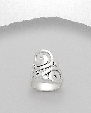Swirl Wave Sterling Silver Ring