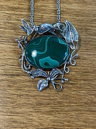 Malachite Floral Pendant / Brooch