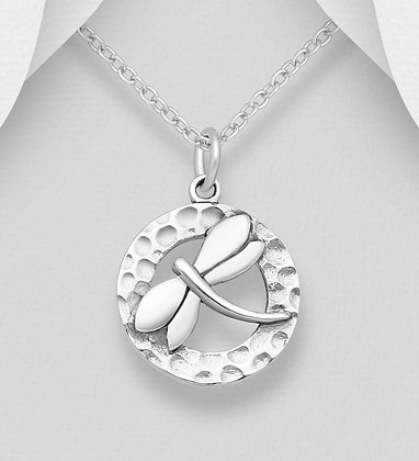 Dragonfly in Hammered Circle Pendant
