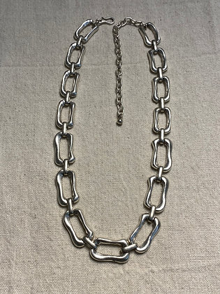 Pewter Rectangle Chain Necklace