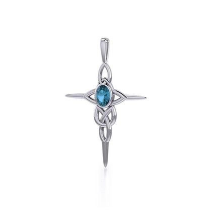 Blue Topaz Celtic Cross Pendant