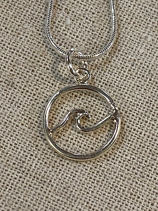 Small Wave in Circle Pendant