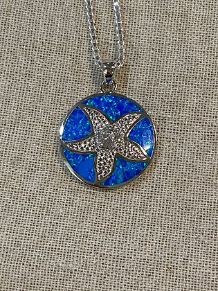 Blue Fire Opal Center CZ Starfish