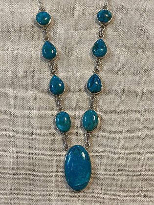 Chrysocolla Oval Drop Necklace