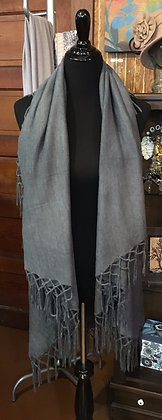 Solid Grey Fringe Shawl Vest