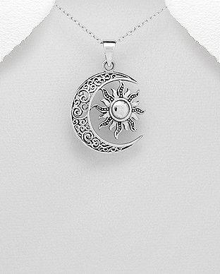Sun & Crescent Moon  Pendant