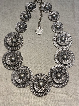 Pewter Buttons Necklace