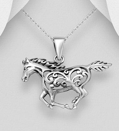 Open Floral Running Horse Pendant