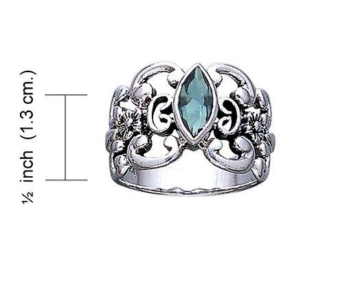 Blue Topaz Floral Ring