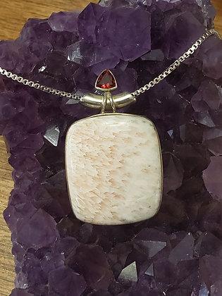 Square Orange Scolecite with Garnet