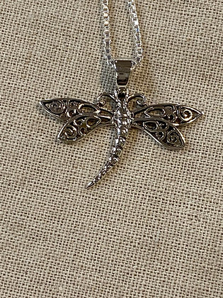 Scrolled Wing Dragonfly Pendant
