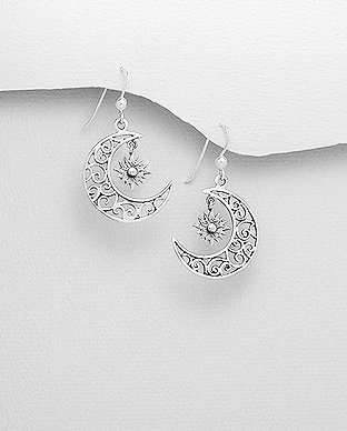 Sun & Crescent Moon earrings
