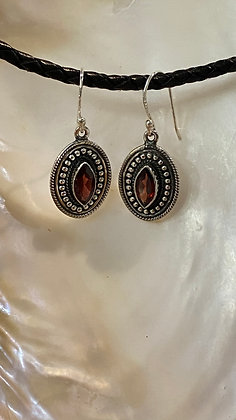 Garnet Shield Earrings