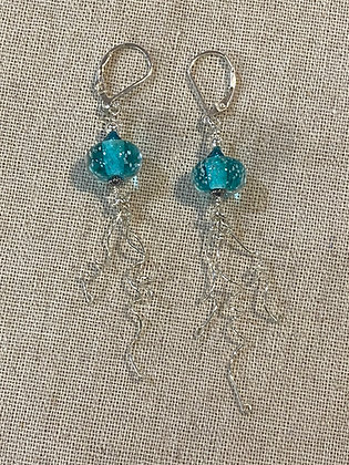 Teal Sand Bead Jellyfish Earrings