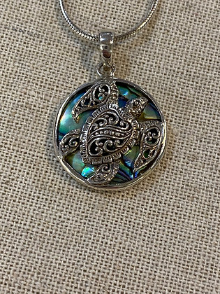 Filigree Turtle in Abalone Circle