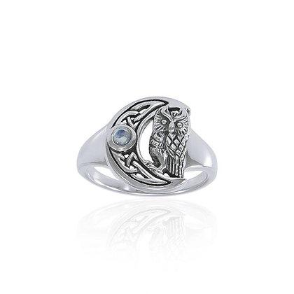 Moon & Owl Moonstone Ring
