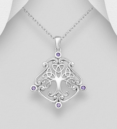 Celtic Tree with Amethyst Pendant
