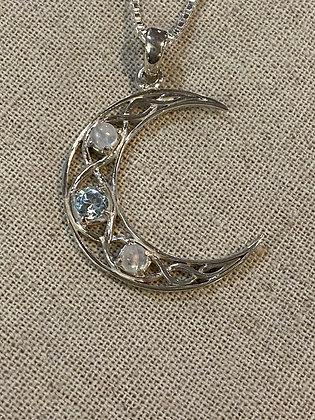 Crescent Moon & Gemstones Pendant